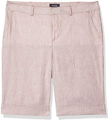 NYDJ Women's Bermuda Short with Roll Cuff, Sand Stripe, 4