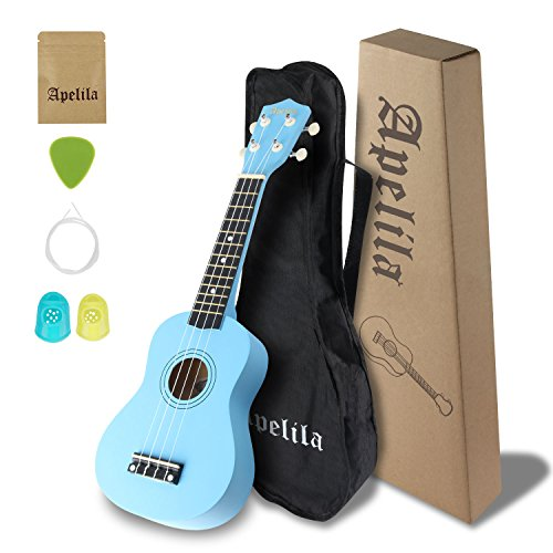 Soprano Ukulele 21 Inch Concert Ukulele Kit with Ukulele Gig Bag, Picks & Strings for Kids and Beginner