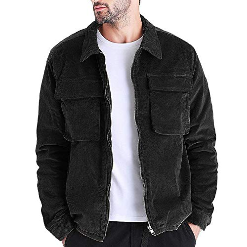 Hestenve Mens Cotton Two Pockets Military Jacket Corduroy Turn Down Collar Trucker Coat Outwear Black