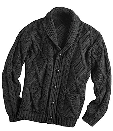 100% Irish Merino Wool Aran Button Cardigan – Fast delivery from Ireland (Large, Charcoal)