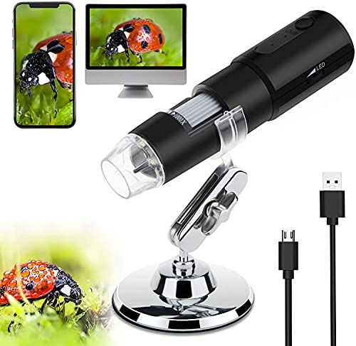 IPXOZO Wireless Digital Microscope,WiFi Handheld USB Microscope 50X to 1000X Zoom Magnification Endoscope Camera with Stand,8 LED Portable Mini Pocket Microscope Camera for Android iOS Phone/Tablet/PC