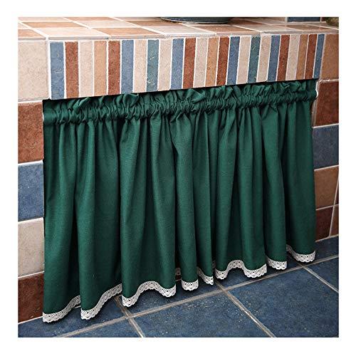 GEREP Cortina Decorativa Cortina de Media con Hilo de Cáñamo Semi Translúcida, Moderna y Elegante, para Salón o Dormitorio, 1 Piezas/Verde / W60×H200cm