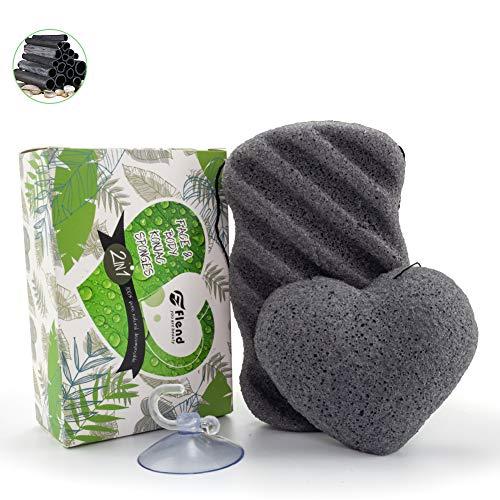 Esponja Konjac, Cepillo de Limpieza Facial Profunda, Esponjas Natural de Baño Para Masajes Exfoliación, Paquete de 2