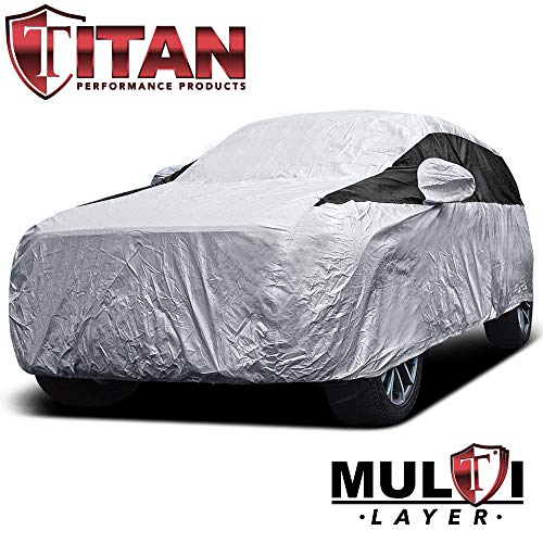 Premium Multi-Layer PEVA Mid-Size SUV Cover. Waterproof and UV Protective. Measures 206 Inches. Protective Lining, Driver-Side Zippered Opening, Tie-Down Straps
