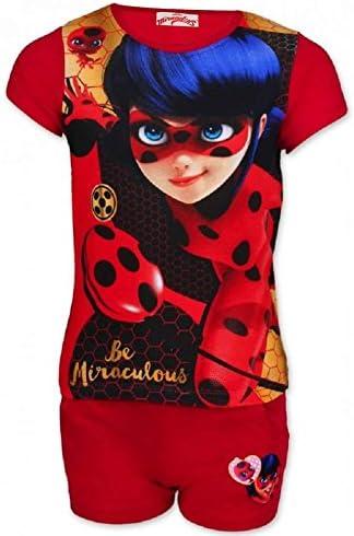 Miraculous Ladybug Conjunto de pijama corto con licencia oficial para niñas de 4 a 10 años