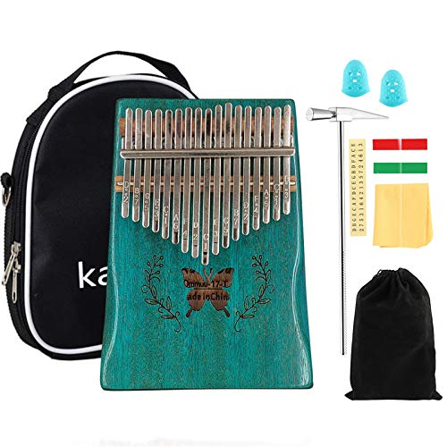 ELE ELEOPTION Kalimba 17 Keys Thumb Piano with Mahogany body builts-in Storage Canvas Bag, Tuning Hammer and Study Instruction 9 pieces-Professional Gift for Music Lovers Kids Beginners - Butterfly