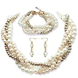 Pearl Necklace Set fake pearl necklaces Pearl Earrings Pearl Bracelet Cluster Bead Collar Twist Multi-Strand Pearl Choker Necklace set gift for Women(golden choker)
