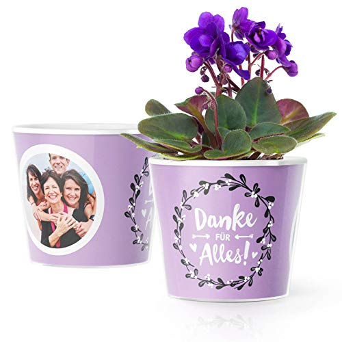 Facepot Dankeschön Geschenke Blumentopf (ø16cm) | Als Danksagung mit Bilderrahmen für 2 Fotos (10x15cm) | Danke für Alles