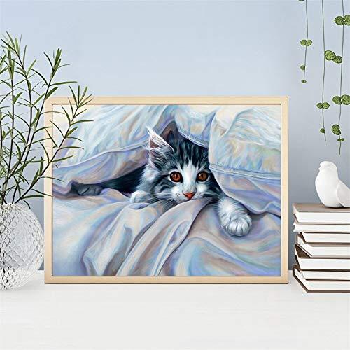 AQgyuh Puzzle 1000 Piezas Lindo Gato Pintura Animales imágenes decoración del hogar Puzzle 1000 Piezas Adultos Juego de Habilidad para Toda la Familia, Colorido Juego de ubicación.50x75cm(20x30inch)