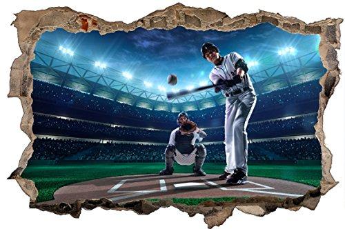 DesFoli Baseball Pitcher 3D Look Wandtattoo 70 x 115 cm Wanddurchbruch Wandbild Sticker Aufkleber D610