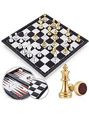Peradix magnetisch schaakspel, dammen, backgammon 3-in-1 schaak magnetisch veld opvouwbaar met opbergtas luxe schaakbord groot (3 in1)