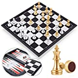 Peradix Chess Set Magnetic Travel Chess Boards Sets, Chess Checkers/Draughts and Backgammon Set, 3-in-1 Multifunctional Folding Board Game Set for Kids Adults