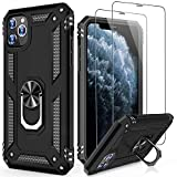 LUMARKE iPhone 11 Case with Tempered Glass Sreen Protector,Pass 16ft Drop Test Military Grade Heavy Duty Cover with Magnetic Kickstand,Protective Phone Case for iPhone 11 6.1' Black