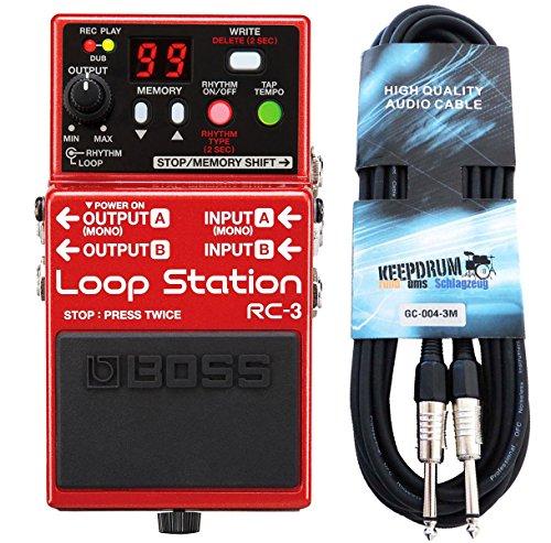 Boss RC de 3Loop Station Efecto de pedal Keepdrum de guitarra cable 3m