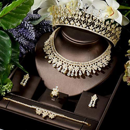 AMINIY Nuevo Collar De Zircón Brillante Anillo Pulsera Pulsera Corona De 5 Piezas para Mujeres Juego De Joyería De Novia Nupcial (Color : Golden Color)