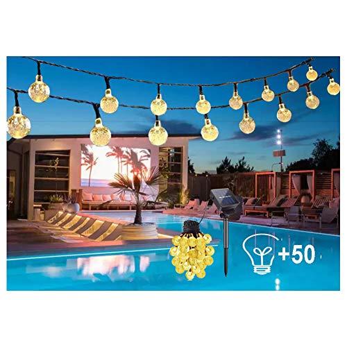 50 LED Solar Lichterkette Aussen - 9.5M IP44 Wasserdicht Kristall Kugeln 8 Modi Warmweiß Außerlichterkette Deko für Garten für Bäume, Hochzeiten, Terrasse Hof,Weihnachtsfeier [Energieklasse A+++]