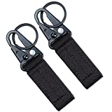 Fairwin Tactical Gear Clip, Nylon Key Ring Holder or Tactical Belt Keepers Military Utility HangerCarabiner Tactical Molle Hook, Black, Tan, Green