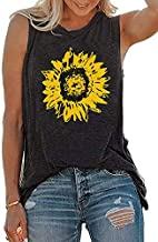 JINTING Summer Sunflower Graphic Tank Tops for Women Graphic Tank Tops Sleeveless Graphic Tee Shirts Letter Print Tank Top Grey