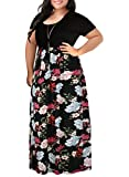 Nemidor Women's Chevron Print Summer Short Sleeve Plus Size Casual Maxi Dress(18W,Black Peony)