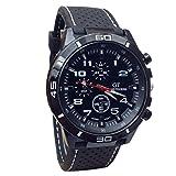 Ularma Reloj de pulsera Sport silicona de cuarzo reloj hombres (blanco)