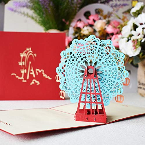 3 color 3D Ferris wheel Pop-Up Card Birthday with envelope sticker laser cut invitation Greeting Card postcard creative Gift
