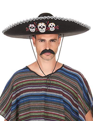 WELLY INTERNATIONAL Sombrero Noir Dia de Los Muertos Finitions argentées Adulte