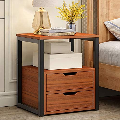Bedside Table with Metal Frame 2 Drawers Rustic Storage Organiser End Table Home Office Living product image
