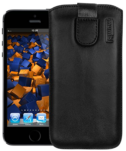 mumbi Echt Ledertasche kompatibel mit iPhone SE (2016) / 5 / 5S Hülle Leder Tasche Hülle Wallet, schwarz, iPhone SE 5 5S 5C