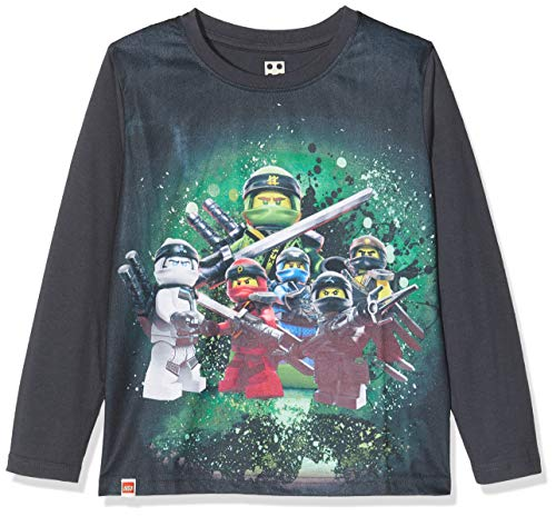 LEGO Jungen cm Ninjago Langarmshirt, Grau (Dark Grey 965), (Herstellergröße: 128)