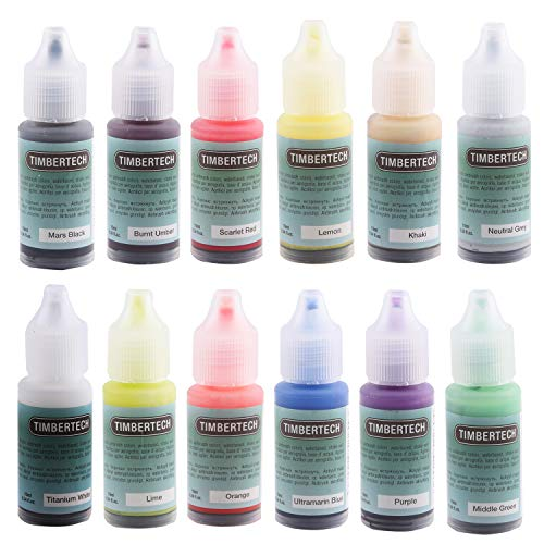 Timbertech Acrylfarben Airbrush Farben 12 * 10ml Model Air Basis Bunt Metallic FarbenSet Airbrushfarben