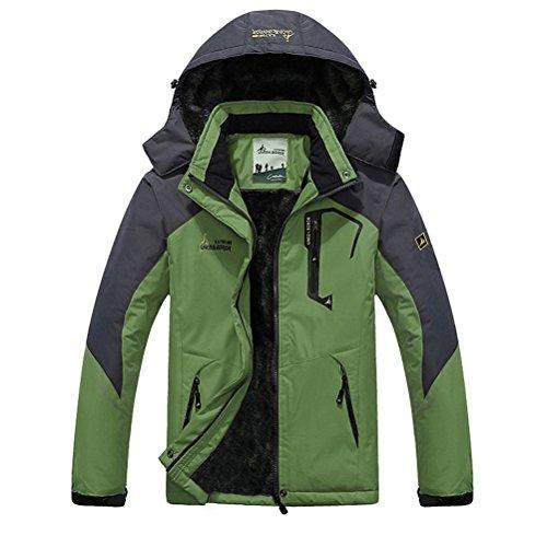 Minetom Herren Softshelljacke mit Kapuze Wasserdicht Atmungsaktiv Funktionsjacke Outdoor Jacke Winter Skijacke Männer Grün EU XXL