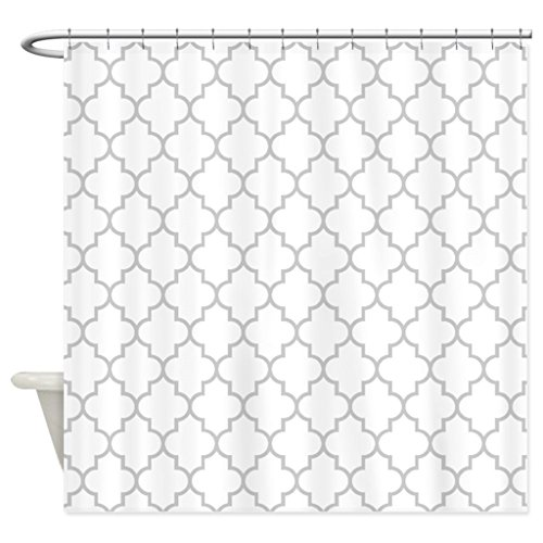 eikleom weiß grau Vierpass-Duschvorhang 180x 180cm wasserdicht Polyester