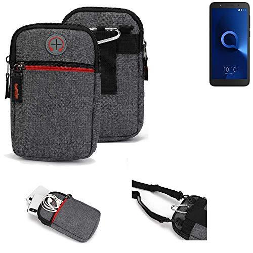 K-S-Trade® Gürtel-Tasche Für Alcatel 1C Dual SIM Handy-Tasche Schutz-hülle Grau Zusatzfächer 1x