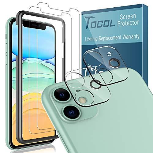 TOCOL [2er Pack] Schutzfolie für iPhone 11-Kamera aus gehärtetem Glas+[2er Pack] HD-Displayschutzfolie aus gehärtetem Glas[Positionierungsrahmen] [Blasenfrei]