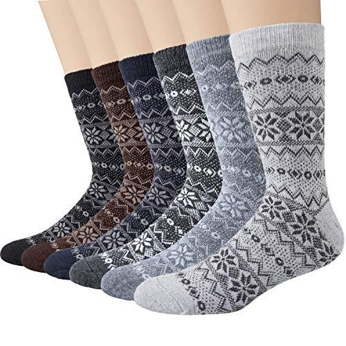 Justay Paar Norwegersocken mit Wolle Bunte Herrensocken, dicke warme Wintersocken Stricksocken 38-45 MEHRWEG 6 Paar mehrfarbig