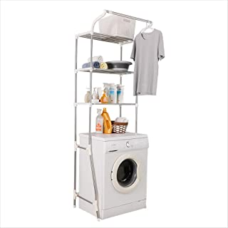 Hershii Étagère à 3 niveaux pour salle de bain ou machine à laver - Réglable - Économie d'espace - Avec tringle à vêtement...