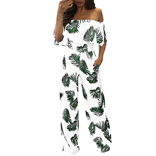 Ansenesna Jumpsuit Damen Sommer Lang Elegant Weites Bein Off Shoulder Overall Frauen Locker Für Playsuit Party Strand Festlich (XL, Grün)