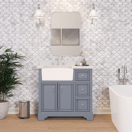 Zelda 36-inch Bathroom Vanity (Quartz/Powder Gray): Includes Powder Gray Cabinet with Stunning Quartz Countertop and White Ceramic Farmhouse Apron Sink