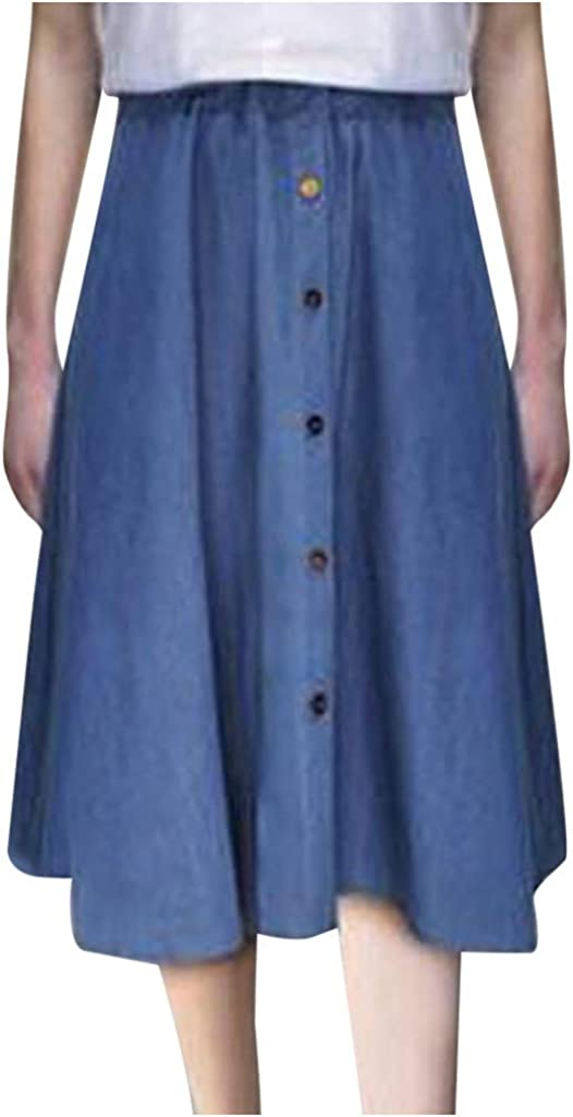 Skirts for Women, Pleated High Waist A-Line Casual Ladies Solid Color Long Maxi Fit Skirts