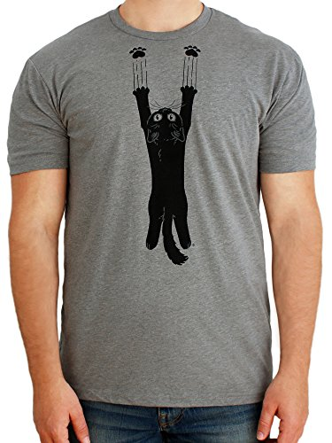 Paw Addict Mens Scratch Black Cat Kitty Graphic T-Shirt (Grey, Large)