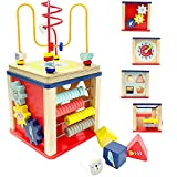 LEO & FRIENDS Activity Cube Wooden Toys for 1,2 Year Old Boy Gifts,12-18 Months Baby Toys for Preschool Learning,Montessori Bead Maze and Shape Sorter 5-in-1 Toys for Toddlers Gift.
