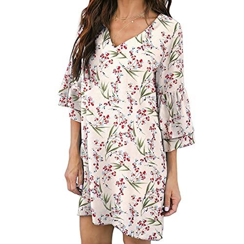 yudjzgt Vestido de verano corto para mujer, elegante, minivestido de manga 3/4, con volantes, camiseta de verano, corto, para el tiempo libre beige XS
