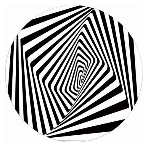 QYQS Grillmatte Bodenschutzmatte Runder Teppich Vortex Illusion Teppich Premium 3D Haus Teppiche Matte Schwarz Weiß Plaid Runde Quadratische Teppiche Anti-Rutsch-Vlies Langlebig(Size:80cm/31in)