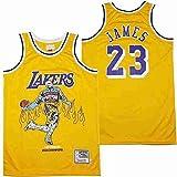 XXJJ Lebron James Lakers # 23 - Camiseta de baloncesto para hombre, térmica, transferencia térmica, color amarillo ~ A-M