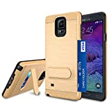 Galaxy Note 4 Case, Note 4 Card Holder Cover, Jeylly Gold [Metal Satin] Card Holder with Kickstand Hybrid Dual Layer Hard Plastic + Soft TPU Drop Protection Case Cover for Samsung Galaxy Note 4 N910