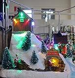 giocoplast Pueblo LED con esquiadores en Movimiento, cm 22,5x 17,5x 20