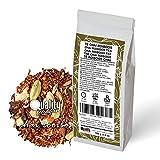 Té chai. Chai rooibos. Blend. Con rooibos super grade (54%), anís, clavo, cardamomo, hinojo, trozos de canela y jengibre. No aromatizado. Antioxidante. Diurético. 100 gramos