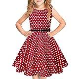Idgreatim Mädchen Halloween Sommerkleid Kürbis 1950 Rockabilly Swing Sommerkleid, Red White, Gr.- 5-6 Jahre/ Small