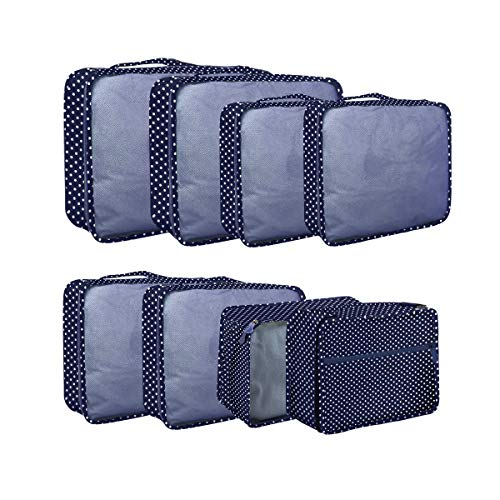 Packing Cubes 8 Sizes Travel Luggage Packing Organizers Pouches 8 pcs Dot