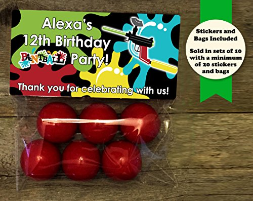 Paintball Party Birthday Personalized Treat Bags and Stickers, Set of 20